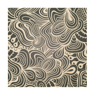 Black and White Psychedelic Floral Pattern Wood Print