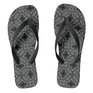 Black and White Psychedelic Geometric Pattern Flip Flops