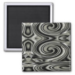 Black And White Psychedelic Swirl Fridge Magnets