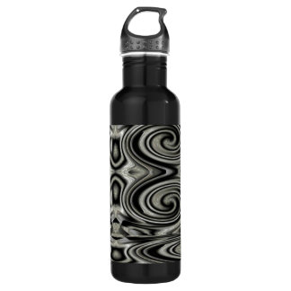 Black And White Psychedelic Swirl Stainless Steel Water Bottle
