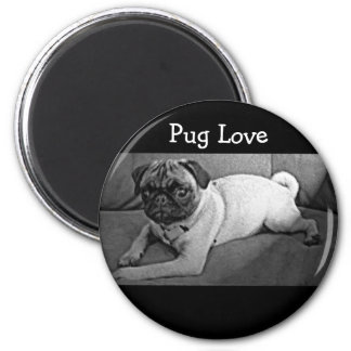 Black and White Pug 2 Inch Round Magnet