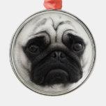 Black and White Pug Christmas Ornament
