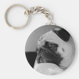 Black and White Pug Portrait Keychain