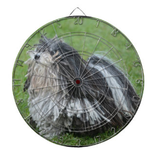 Black and White Puli Dog Dart Board