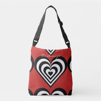 black and white pulsating zebra hearts love crossbody bag