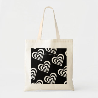 black and white pulsating zebra hearts love tote bag
