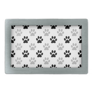 Black and white puppy paw prints rectangular belt buckle