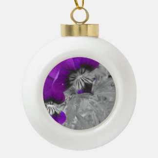 Black and White Purple Pansy Effect Ceramic Ball Christmas Ornament
