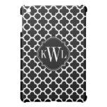 Black and White Quadrefoil Pattern Monogram iPad Mini Cover