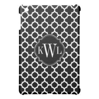Black and White Quadrefoil Pattern Monogram iPad Mini Case