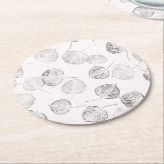 Black and White Quaking Aspen Leaf Prints Round Paper Coaster