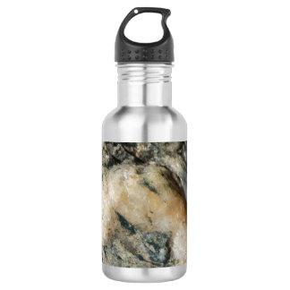 Black and White Quartz Mineral Texture Water Bottle