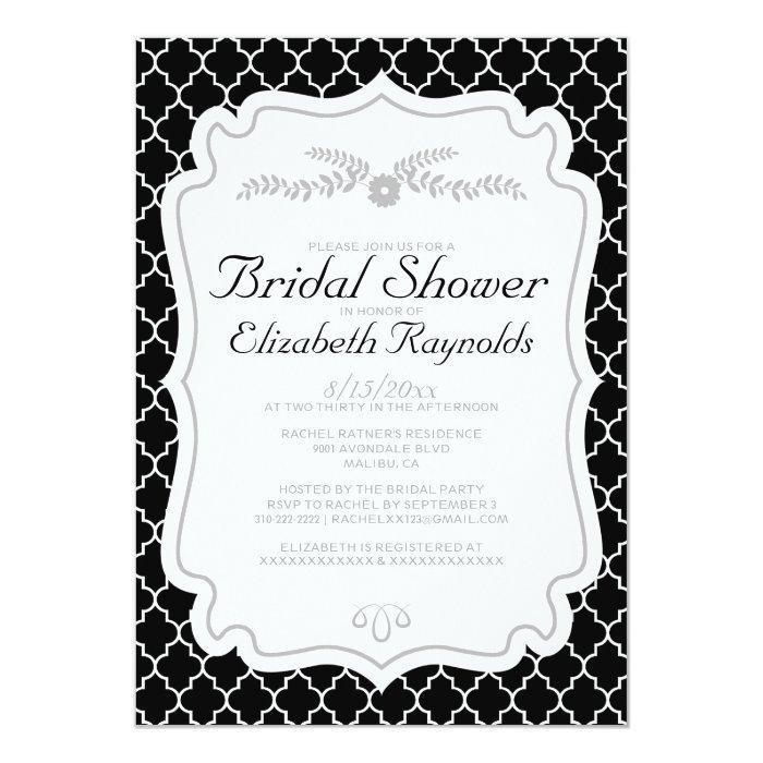 Black and white quatrefoil bridal shower invites zazzle for Black and white bridal shower invitations