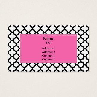 Black and White Quatrefoil Business Card