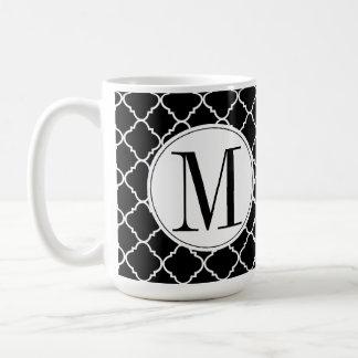 Black and White Quatrefoil Coffee Mug