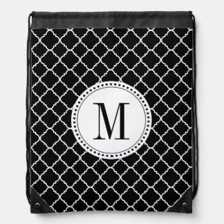Black and White Quatrefoil Drawstring Backpack
