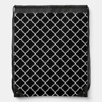 Black and White Quatrefoil Drawstring Bag