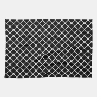 Black and White Quatrefoil Floral Clover Pattern Towels