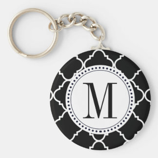 black and white quatrefoil keychain