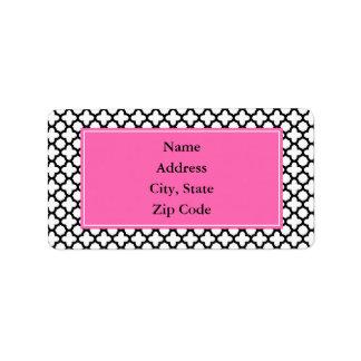 Black and White Quatrefoil Custom Address Label