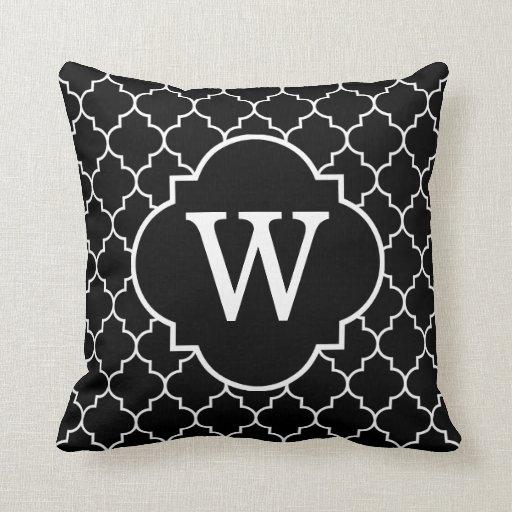 Black And  White Quatrefoil Monogram Throw Pillow