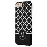 Black and White Quatrefoil Pattern Custom Monogram Barely There iPhone 6 Plus Case