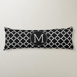 Black and White Quatrefoil Pattern Custom Monogram Body Pillow