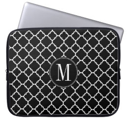 Black and White Quatrefoil Pattern Custom Monogram Computer Sleeve