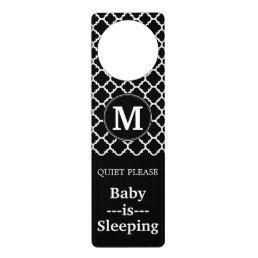 Black and White Quatrefoil Pattern Custom Monogram Door Hanger