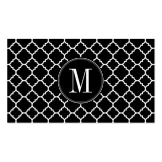 Black and White Quatrefoil Pattern Custom Monogram Double-Sided Standard Business Cards (Pack Of 100)