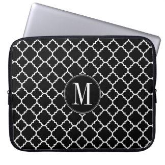Black and White Quatrefoil Pattern Custom Monogram Laptop Sleeves