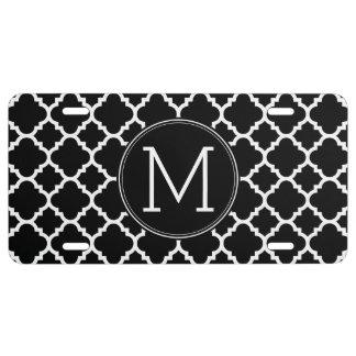 Black and White Quatrefoil Pattern Custom Monogram License Plate
