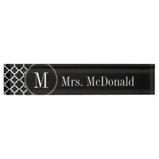 Black and White Quatrefoil Pattern Custom Monogram Nameplate