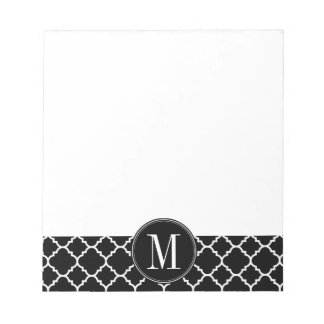 Black and White Quatrefoil Pattern Custom Monogram Notepad