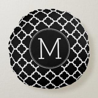 Black and White Quatrefoil Pattern Custom Monogram Round Pillow
