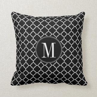 Black and White Quatrefoil Pattern Custom Monogram Throw Pillow