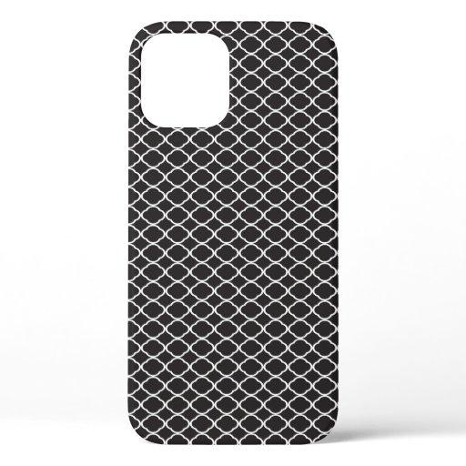 Black and White Quatrefoil Pattern Elegant iPhone 12 Pro Case