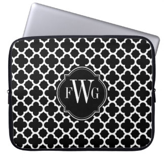 Black and White Quatrefoil Pattern Monogram Laptop Computer Sleeves