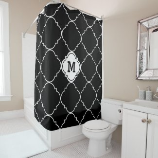 Black and White Quatrefoil Pattern Monogrammed Shower Curtain