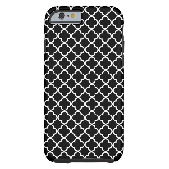 Black and White Quatrefoil Pattern Tough iPhone 6 Case