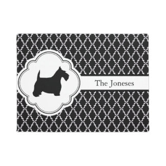 Black and White Quatrefoil Scottie Doormat