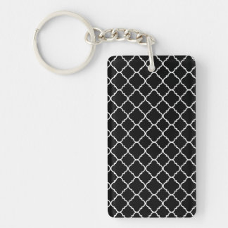 Black and White Quatrefoil Single-Sided Rectangular Acrylic Keychain