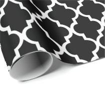Black and White Quatrefoil Tiles Pattern Wrapping Paper