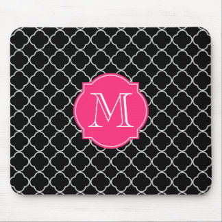 Black and White Quatrefoil with Monogram Mouse Pad