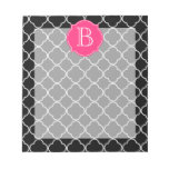 Black and White Quatrefoil with Monogram Memo Note Pads