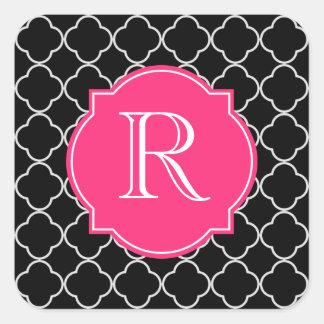 Black and White Quatrefoil with Monogram Square Sticker