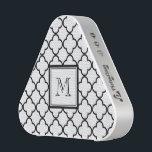 "Black and White Quatrefoil, Your Monogram Bluetooth Speaker<br><div class=""desc"">Elegant,  black and white quatrefoil pattern with custom your monogram. GraphicsByMimi&#169; Other colors available.</div>"
