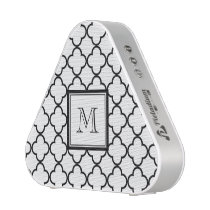 Black and White Quatrefoil, Your Monogram Bluetooth Speaker