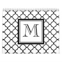 Black and White Quatrefoil, Your Monogram Calendar