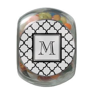 Black and White Quatrefoil, Your Monogram Glass Jar